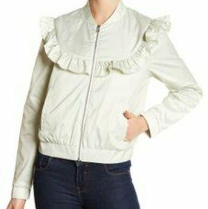 Melrose and Market Mint Green Ruffle Nylon Jacket
